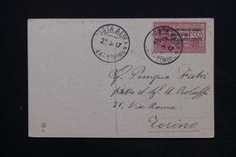ITALIE - Carte Par Avion De Roma Pour Torino En 1917 , Affranchissement Plaisant ( Surchargé ) - L 24812 - Marcofilie (Luchtvaart)
