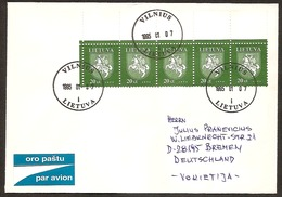 LITHUANIA / LITAUEN 1994 Definitive Horseman / Reiter /Mi571  Multifranked Letter Posted To Germany - Lithuania