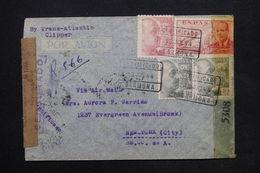 ESPAGNE - Enveloppe En Recommandé De Garmona Pour New York En 1944 Avec Contrôles Postaux - L 24813 - Marcas De Censura Nacional