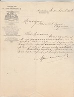Pays Bas Lettre Illustrée 21/4/1908 M J VAN AMERINGEN Commissionnaire En Vin AMSTERDAM - Niederlande
