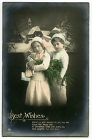 CHRISTMAS : BEST WISHES - TWO PRETTY CHILDREN WITH CHRISTMAS TREE AND PRESENTS (HAND COLOURED) - Christmas