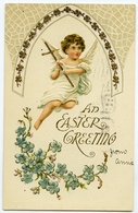 AN EASTER GREETING : ANGEL WITH CROSS (EMBOSSED) - Easter
