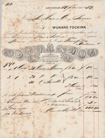 Pays Bas  Facture Illustrée  17/2/1877 WIJNAND FOCKINK  Liqueurs Et Curaçao  AMSTERDAM - Pays-Bas