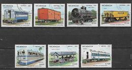 NICARAGUA 1983 VAGONI DEI TRENI YVERT. 1264-1267+POSTA AEREA 1022-1024 USATA VF - Nicaragua