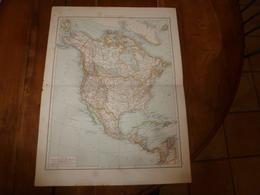 1884 Carte Géographique :(recto) Amérique Du Nord 1884; (coté Verso) Amérique Du Sud (Colombie,Vénézuela,Pérou,etc) - Geographical Maps