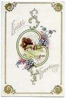 EASTER GREETINGS : RURAL SCENE - COTTAGE (EMBOSSED) - Easter