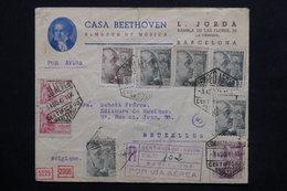 ESPAGNE - Enveloppe Commerciale De Barcelone En Recommandé Par Avion Pour Bruxelles En 1941 ,contrôles Postaux - L 24831 - Marcas De Censura Nacional