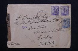 ESPAGNE - Enveloppe De Madrid Par Avion Pour Bombay En 1945 ,contrôle Postal - L 24832 - Marcas De Censura Nacional