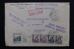 ESPAGNE - Enveloppe De Malaga Pour Bremen En 1937 Par Avion Via Cadiz / Roma ,contrôle Postal - L 24833 - Marcas De Censura Nacional
