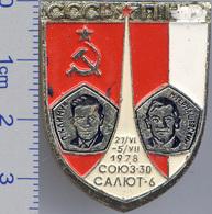 96 Space Soviet Russia Pin. INTERKOSMOS USSR-PNR (Poland) 1978 Soyuz-30 Salut-6 - Space