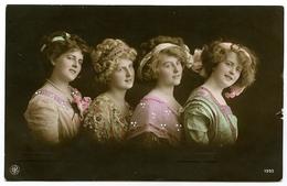 EDWARDIAN FASHION : FOUR PRETTY GIRLS - DRESSES / RIBBONS (HAND COLOURED) / ADDRESS - GRAVESEND - Fashion