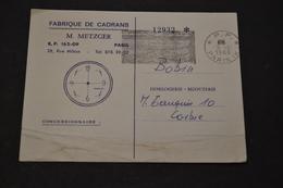 Carte 1966 Cachet PARIS PP Flamme Noir Muette Pub Fabrique De Cadrans RUDOR - Marcophilie (Lettres)