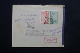 ESPAGNE - Enveloppe De Las Palmas Pour Bruxelles Par Avion En 1939 , Censure Militaire - L 24837 - Marcas De Censura Nacional