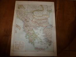 1884 Carte Géographique :Recto (Presqu'île Des Balkans) ; Verso (Grèce, Crète) , (Méditerranée Orientale) Etc - Geographische Kaarten
