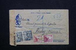 ESPAGNE - Enveloppe En Recommandé De Santa Amalia Pour Le Consul D'Espagne à Vichy En 1940 - L 24857 - Marcas De Censura Nacional