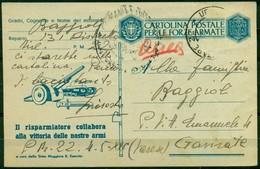 V6786 STORIA POSTALE II GUERRA - Cartolina Postale (Fil. F48-5) Via Aerea Da PM 22 (Albania) (4.5.43, Annullo Parziale - 1900-44 Vittorio Emanuele III