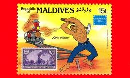 Nuovo - MNH - MALDIVE - 1986 - W. Disney - Ameripex '86 - Cartoni Animati - Fumetti - Treno - John Henry - 15 - Maldive (1965-...)