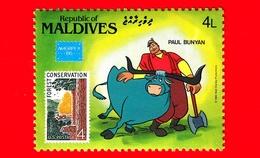 Nuovo - MNH - MALDIVE - 1986 - W. Disney - Ameripex '86 - Cartoni Animati - Fumetti -  Paul Bunyan - 4 - Maldive (1965-...)