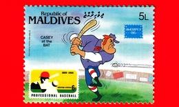 Nuovo - MNH - MALDIVE - 1986 - W. Disney - Ameripex '86 - Cartoni Animati - Fumetti -Baseball - Casey At The Bat - 5 - Maldive (1965-...)
