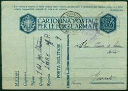 V6788 STORIA POSTALE II GUERRA - Cartolina Postale In Franchigia (Fil. F21-7) Da PM 9 (Roma) (5.5.42) Per Gavirate, - 1900-44 Vittorio Emanuele III