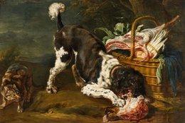 @@@ MAGNET - Paul De Vos, Dog And Cat At A Basket With Meat, Asparagus And Artichoke - Publicitaires