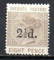 AMERIQUE CENTRALE - GRENADE - (Colonie Britannique) - 1890 - N° 28 - 2 1/2 D; S. 8 P. Bistre-olive - (Victoria) - Central America