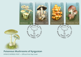 H01 Kyrgyzstan 2019 Mi# 121-124 Poisonous Mushrooms Pilze FDC Set - Kirgisistan