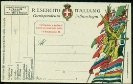 V9368 ITALIA REGNO 1918 FRANCHIGIA Cartolina Postale Vittoria Alata E Bandiere, Interitalia 13 FM.26 (SAIGA… Genova), - 1900-44 Vittorio Emanuele III