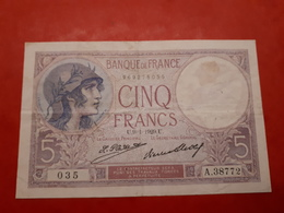 5 Fr Violet Du 9/1/1929 En Bon état - 1871-1952 Anciens Francs Circulés Au XXème