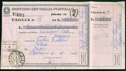 V8079 ITALIA REPUBBLICA 1954 Modulo Vaglia Postale L. 10,  Fil. V58, Interitalia 72, Da Albino 7.11.60, Piega, - 6. 1946-.. Repubblica