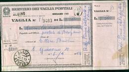 V8080 ITALIA REPUBBLICA 1954 Modulo Vaglia Postale L. 10,  Fil. V58, Interitalia 72, Da Albino 6.5.59, Piega, - 6. 1946-.. Repubblica