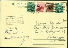V9089 ITALIA REPUBBLICA 1949 Cartolina Postale 12 L. Democratica, Fil. C139, Interitalia 139,con Affrancatura Aggiuntiva - 6. 1946-.. Repubblica
