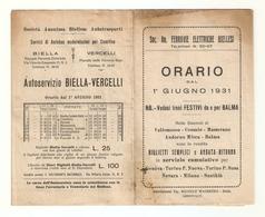 OR--0002-- ORARIO DAL 01/06/1931- SOC.ANONIMA FERROVIE ELETTRICHE BIELLESI- - Europa