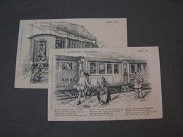 Eisenbahn 2 Alte Poesie Kunst Karten Nach Sontheim  K.W.Bahnpost Stempel 1903 - Eisenbahnen
