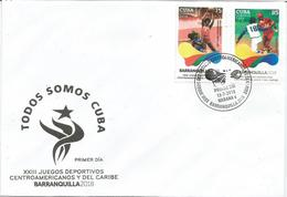 Cuba 2018 XXIII Centro American Games, Barranquilla, Colombia (Box, Fight, Basketball, Baseball) 4v FDC's - Béisbol
