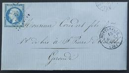 France, 1862 Lettre De Montréjeau Pour Gironde, Republique Française - Postmark Collection (Covers)