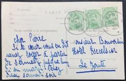 N. 137C, 5 Cent Vert-jaune X 3 Type IV, Sur Carte Postale De Spa 9/8/1922 - 1915-1920 Albert I