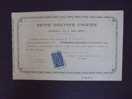 DETTE D'EGYPTE UNIFIEE - ECHEANCE DU 1er MAI 1879 - PARIS - Zonder Classificatie