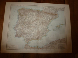 1884 Carte Géographique :Recto (Espagne Et Portugal) ; Verso (Méditerranée Occidentale) Et (Itale Du Sud) Etc - Geographical Maps