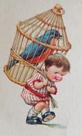 Cpa ILLUSTRATEUR PETIT GARCON TRANSPORTANT UNE GRANDE CAGE A OISEAU Ch Twelvetrees, BOY CARRYING BIG BIRD  OLD PC - Cartes Humoristiques