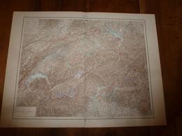 1884 Carte Géographique :     Recto (SUISSE) ;    Verso (Suède Et Norvège) Et (Itale Du Nord) Etc - Geographical Maps