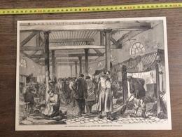 DOCUMENT GRAVURE 1871 PARIS PRISONNIERS FEDERES A LA PRISON DES CHANTIERS DE VERSAILLES - Collections