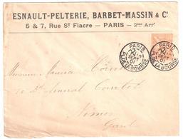PARIS Bourse Lettre Entête ESNAULT PELTERIE BARBET MASSIN 15 C Mouchon Orange Type 2 Yv 117 Perfore EP Ancoper EP120 - France