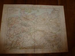 1884 Carte Géographique : Recto (ALLEMAGNE Politique) ;  Verso (DANNEMARK Et ISLANDE) Et (BELGIQUE Et LUXEMBOURG) Etc - Geographical Maps