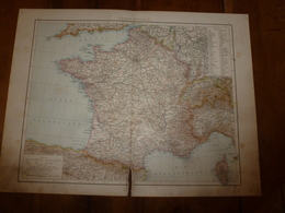 1884 Carte Géographique : Recto (FRANCE Politique) ;  Verso (FRANCE Du Sud-Ouest) Et (FRANCE Du Nord-Est ) Etc - Geographische Kaarten