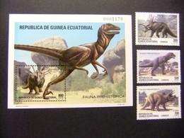 Guinea Ecuatorial Fauna Prehistorica Dinosaurios1994 Yvert 182 / 185 ** MNH - Guinea Ecuatorial
