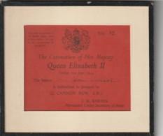 Invitation Couronnement Coronation Majesty Queen Elisabeth II 1953 ---  Sous Verre Encadré - Documents Historiques