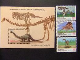 Guinea Ecuatorial Fauna Prehistorica Dinosaurios 2002 Yvert 284 / 287 ** MNH - Guinea Ecuatorial