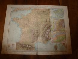 1884 Carte Géographique :Recto (FRANCE Physiq Et Hypsométriq); Verso (FRANCE Du N-O,Bassin Paris, Côte Méditerranée) Etc - Geographical Maps