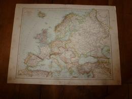 1884 Carte Géographique :Recto (EUROPE Polit); Verso (Gd OCEAN ,TAHITI-MOOREA-MARQUISES) (AUSTRALIE,EUROPE Ph Et Hypsom - Geographical Maps